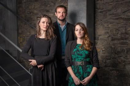 Actor Aoife Spratt (L), Writer/ Director Tom Ryan, Producer Claire Gormley (R)