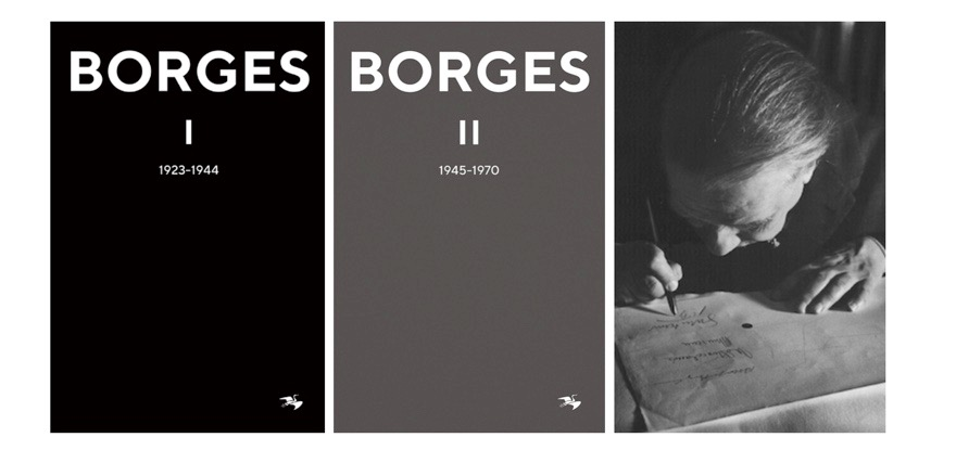 De båda första delarna i Tranans serie och Jorge Luis Borges 1963 (Bild: Wikipedia)