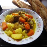 Chicken Coconut Curry with French Baguette