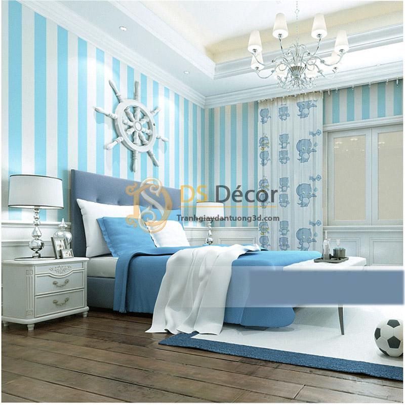 Giấy dán tường sọc xanh trắng 3D063 sử dụng trong phòng ngủ