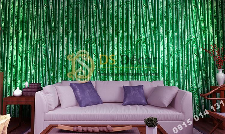 Giấy dán tường rừng tre xanh 3D159 sau sofa