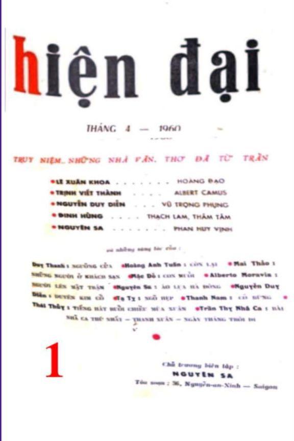 Hiện Đại số 1 tháng 4-1960