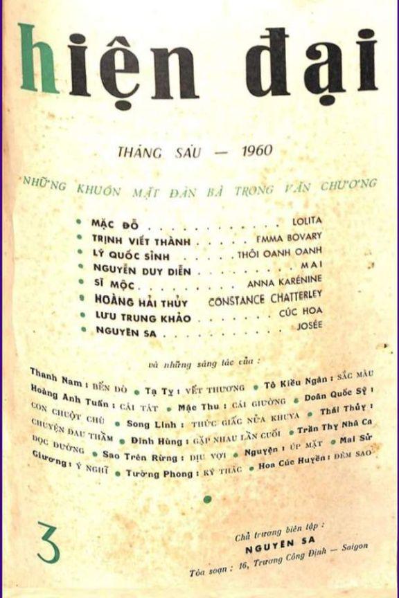 Hiện Đại số 3 tháng 6-1960