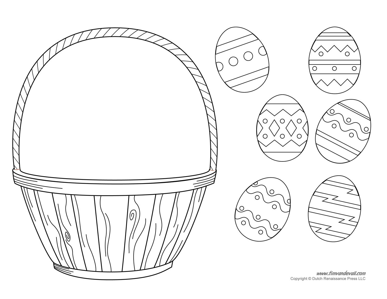 Empty Easter Basket Coloring Page