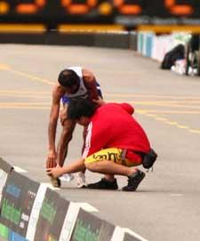 Kramp kommer ofta i slutet på en tävling