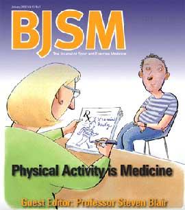 Framsidan av BJSM nummret som tar upp riskerna med för lite motion