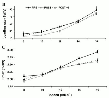 Den övre grafen visar hur Fuchs kropp tog emot mindre krafter varje tidsenhet efter loppet och att denna effekt kvarstod på högre hastigheter även efter 5 månader. Den undra grafen visar på samma mönster för den maximala kraften