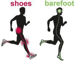 En fiktiv bild som sägs föreställa skillnaden mellan löpning med skor och barfota