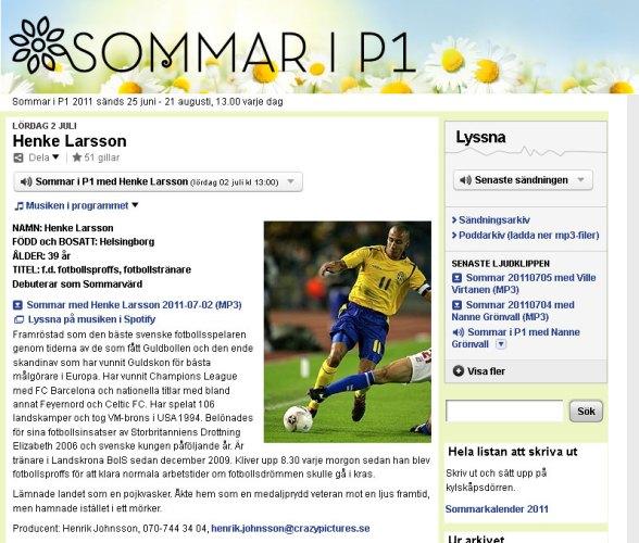 """Henrik """"Henke"""" Larsson i Sommar i P1"""