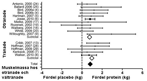Effekten av proteinpulver hos tränade och otränade personer.