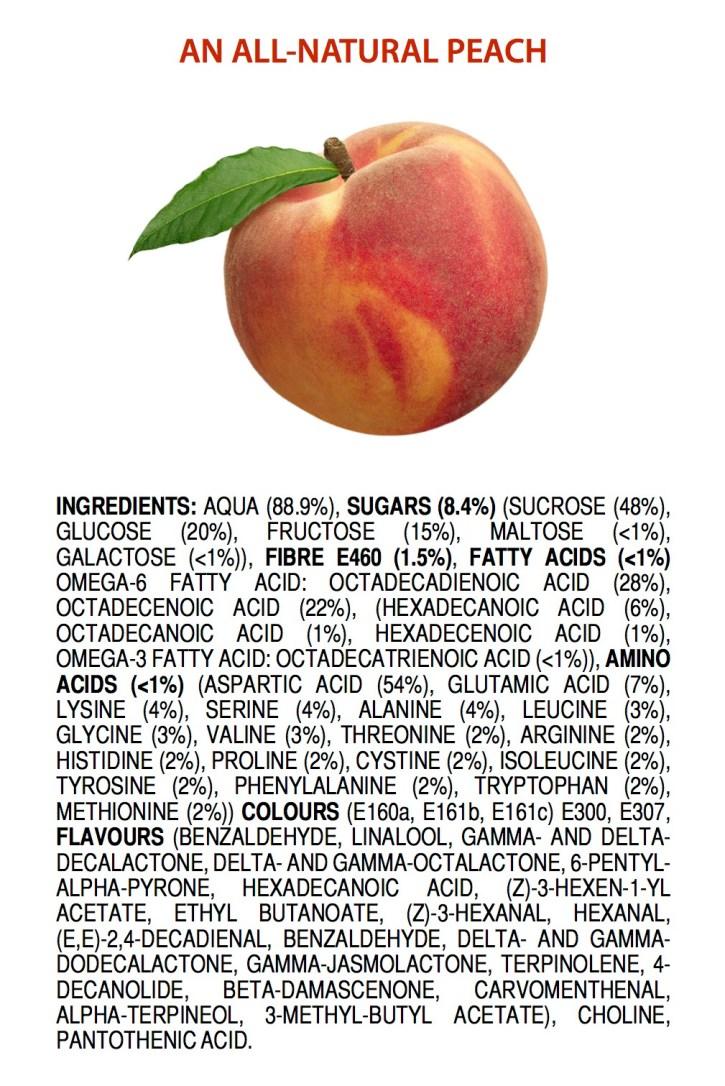 Helt naturliga ingredienser i en persika