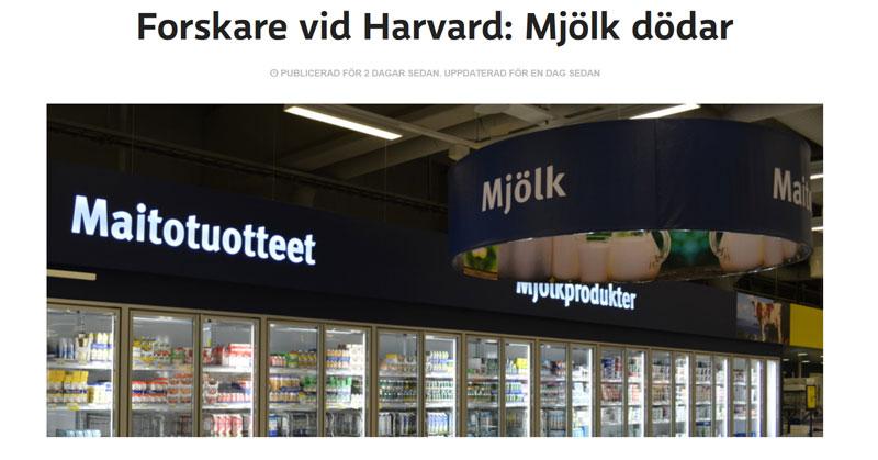 Mjölk dödar enligt Yle