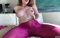 DeliaTS presents Delia Ts in Raspberry Pantyhose Hands Free Cum