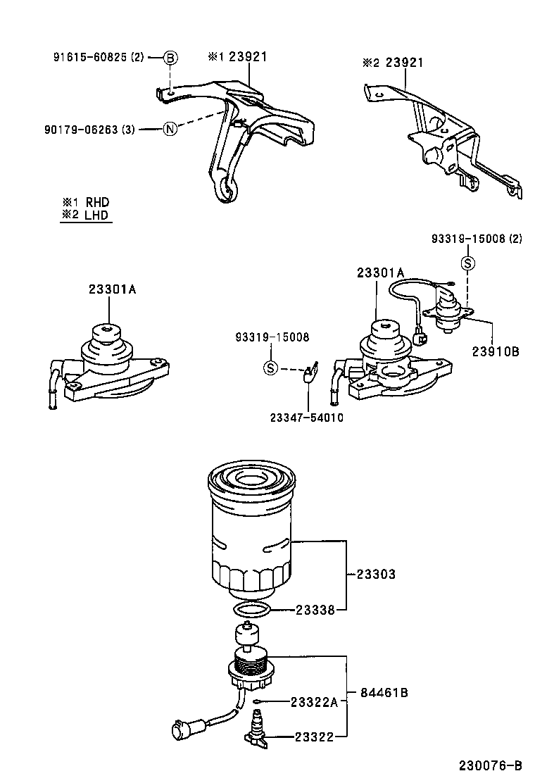 Схема установки детали 2338027040 производителя TOYOTA
