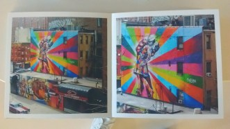 """Photographer Helen Schrader photgraphed the mural """"The Kiss"""" by Eduardo Kobra at 25th and 10th street in New York City."""