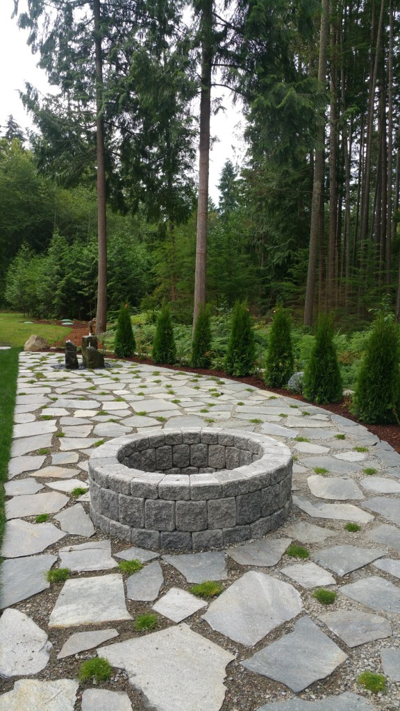 firepit, water feature, backyard