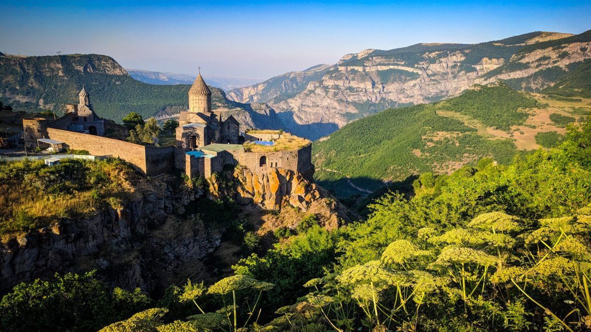 A dramatic image of Tatev Monastery in south Syunik, Armenia