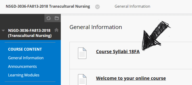 "Arrow pointing to ""Course Syllabi 18FA"""
