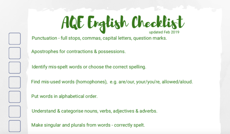 AQE English checklist feb 19 screenshot