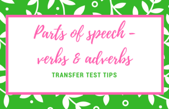 AQE English parts of speech verbs adverbs