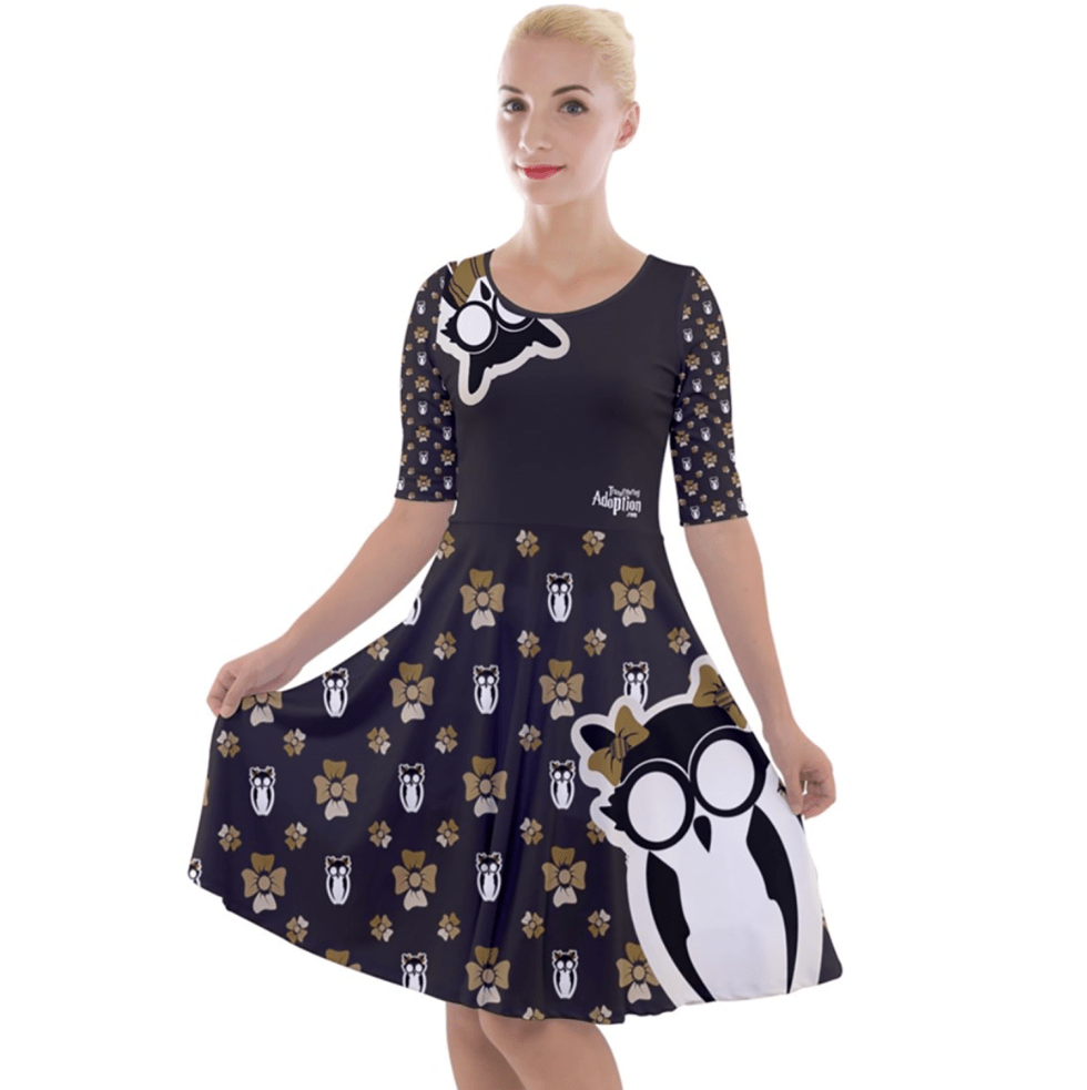 Owl (Yellow) Pattern Dress - Quarter Sleeve A-Line Dress - Inspired by Hufflepuff