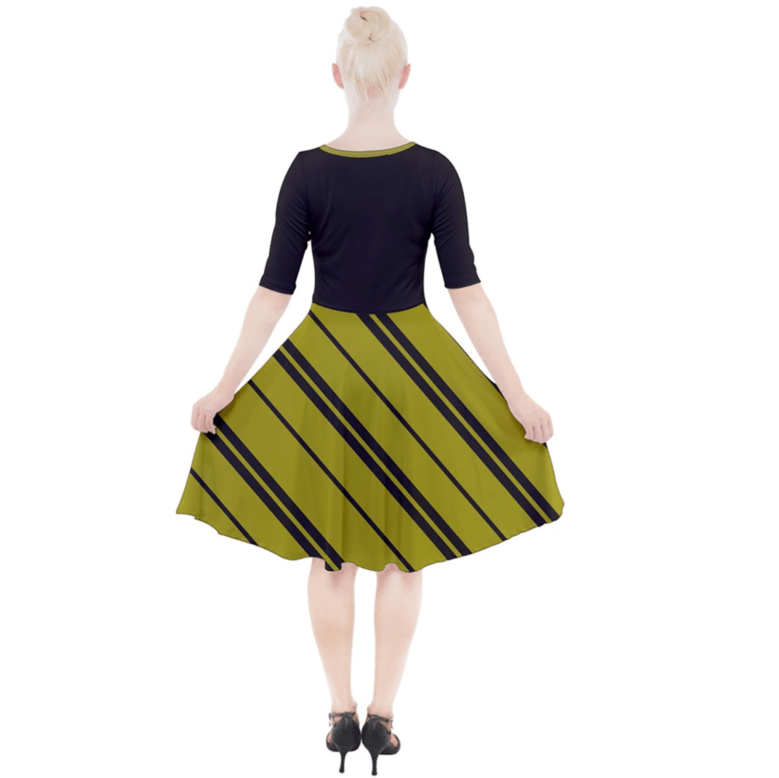 Owl (Yellow) Striped Dress - Quarter Sleeve A-Line Dress - Inspired by Hufflepuff