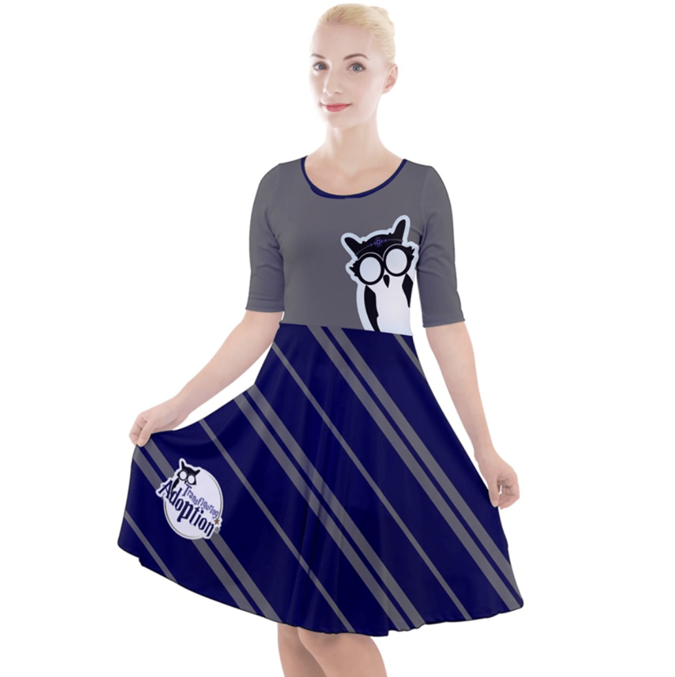 Owl (Blue) Striped Dress - Quarter Sleeve A-Line Dress - Inspired by Ravenclaw