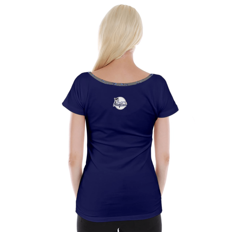 Blue/gray Owl Cap Sleeve Top - Inspired by Ravenclaw