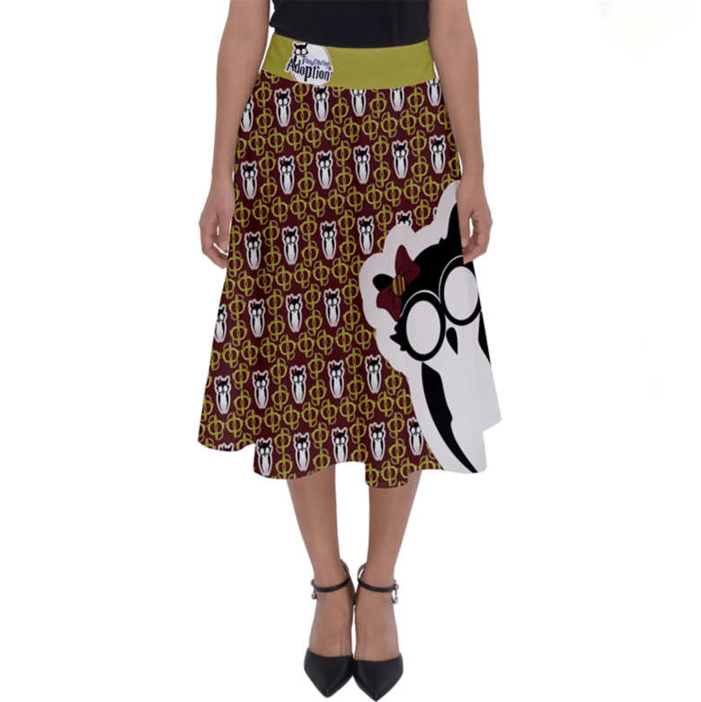 Red and Gold Pattern Owl Perfect Length Midi Skirt - Inspired by Gryffindor