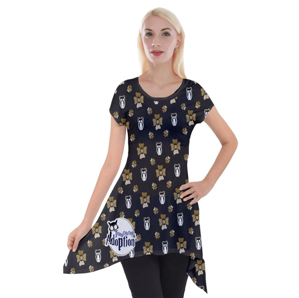 Yellow & Black Pattern Women's Short Sleeve Side Drop Tunic - Inspired by Hufflepuff