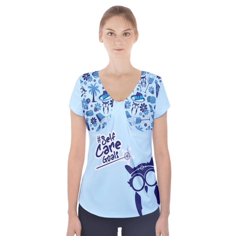 Self-Care Short Sleeve Front Detail Top (Blue)