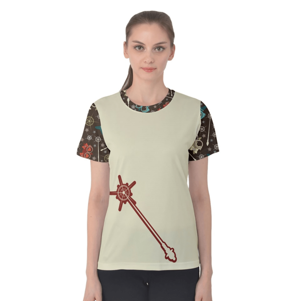 Vintage Emoji Owl Women's Cotton Tee (Red Wand - Patterned Sleeves)