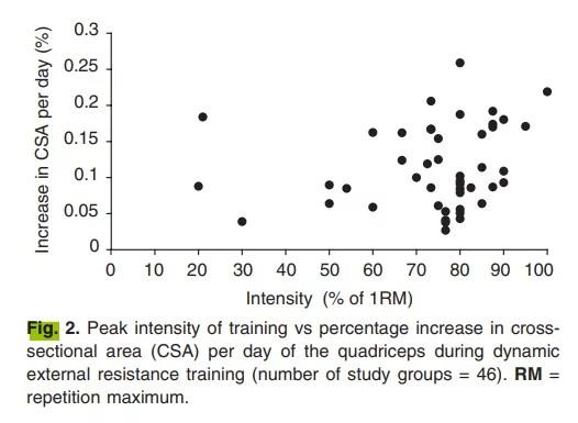Augmentation dans le CSA du quadriceps quotidien selon l'intensité