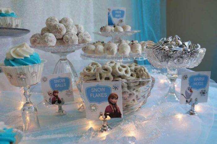 Decoração Frozen a mesa do bolo