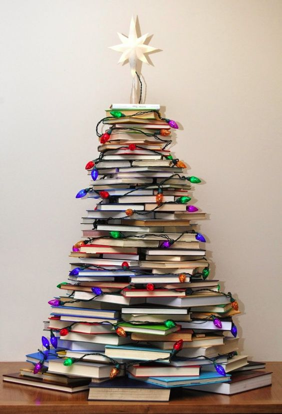 arvore de natal artesanal livros