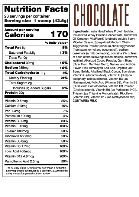 Chris + Heidi Chocolate Meal Replacement Shake Ingredients and Supplement Facts