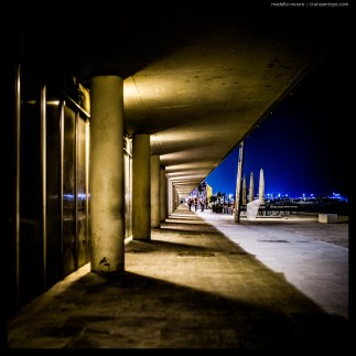 Night-time photograph along the beach front in Barceloneta.