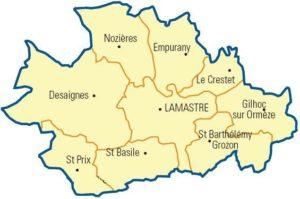 Canton de Lamastre sous licence Domaine public via Wikimedia Commons