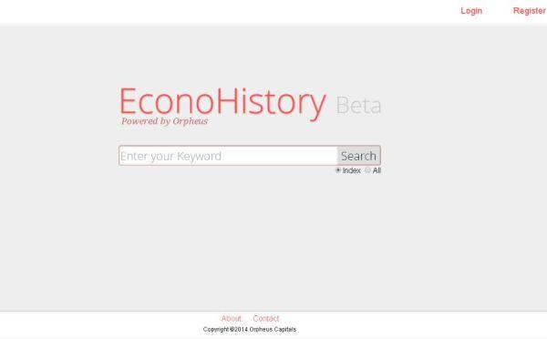EconoHistory,   motorul de căutare propus de Mukul Pal
