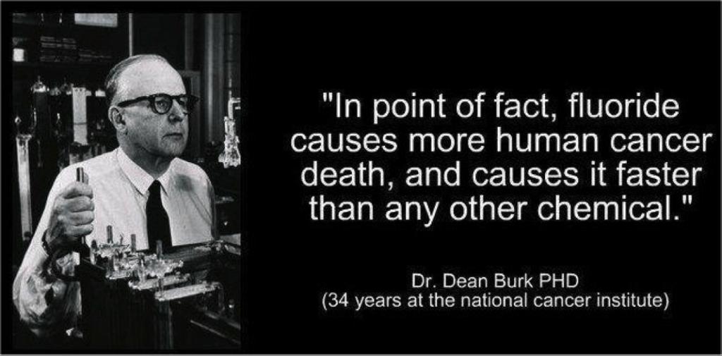 """""""Es ist eine Tatsache, dass Fluorid mehr Krebstodesfälle erzeugt, und dies schneller als andere chemische Substanzen"""",  Dr. Dean Burk PHD (34 Jahre am Nationalen Krebsinstitut)"""