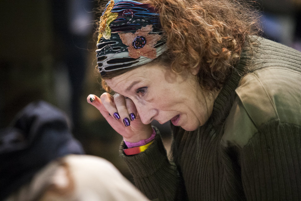Virginia McIntyre, a U.S. Air Force veteran from Buffalo, N.Y., wipes tears from her eyes during an emotional forgiveness ceremony for veterans at the Four Prairie Knights Casino & Resort on the Standing Rock Sioux Reservation on Monday, Dec. 5, 2016.