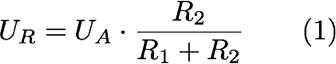UR=UA*R2/(R1+R2) (1)