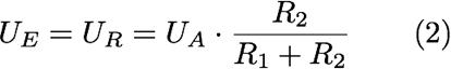 UE=UR=UA*R2/(R1+R2) (2)