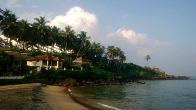 Leela Beach Resort Kovalam perched right among the coconut trees and facing the calm waters of the Arabian Sea