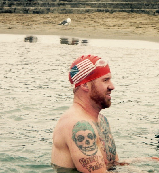 Me standing in the San Francisco Bay after open water swimming.