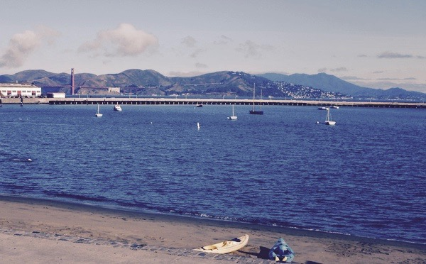 View of Aquatic Park and the Golden Gate Bridge from the amphitheater bleachers after open water swimming.