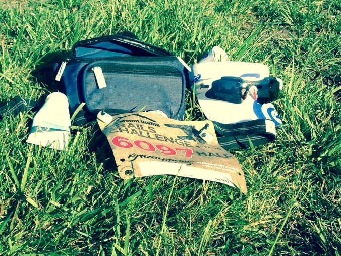 Fanny pack, sunblock, race bib, hat and glasses worn during Mt. Diablo Trails Challenge