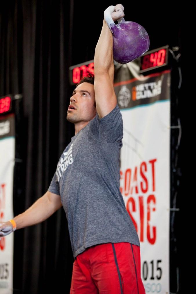 Rob Medsger swinging a kettle bell