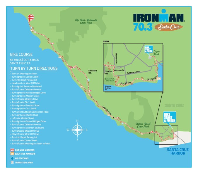 Ironman 70.3 Santa Cruz Bike Course map