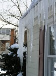 large icicles at corner of Transitions Counseling office, 250 East Market Street, Harrisonburg VA